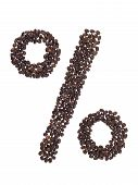 Symbol Percentage Made With A Coffee Beans