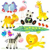 Постер, плакат: Watercolor zoo animals set Cartoon wild animal Cartoon zoo animal Watercolor animal giraffe peng