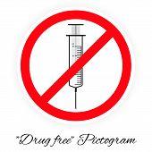 Drug Free Pictogram, Black And White poster