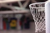 stock photo of netball  - an empty netball ring or net with no ball - JPG
