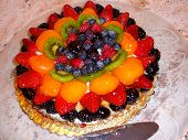 Elegant Fruit Tart Pastry Served For Dessert