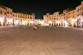Lucca - Piazza Anfiteatro At Night. Tuscany, Italy.