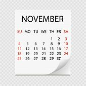 Monthly Calendar 2018 With Page Curl. Tear-off Calendar For November. White Background. Vector Illus poster
