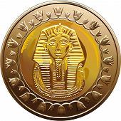 Vector Egyptian Coin Featuring Pharaoh