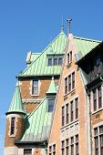 stock photo of gare  - Old copper roofs from the railway and bus station complex in Quebec City Canada - JPG