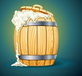 wooden barrel full of beer with foam vector illustration isolated on white background