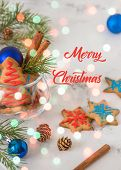 Cookies for christmas theme. New year and christmas card space for your text.