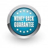 Money back guarantee blue silver metallic chrome border web and mobile phone icon on white backgroun poster