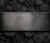 rusty cogs and gears steam punk 3d illustration background poster
