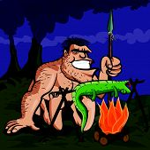 Cartoon caveman BBQ