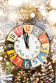 Vintage Clock And Christmas Decorations poster