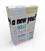 A product box with with the words A New You advertising instant self improvement with qualities such as success, beauty, intelligence, confidence, charm, poise, skills, and courage