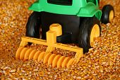 Toy Tractor In Corn poster