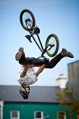 Boy On A Bmx/mountain Bike Jumping