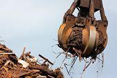 Crane Grabber Loading Metal Scrap