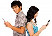 Confident Couple Text Messaging