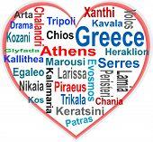 Coração de Grécia e nuvem de palavras com cidades maiores