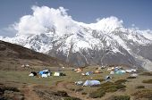 stock photo of nepali  - Camp in the mountains of mushroom  - JPG