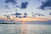 Empty Calm Sea Reflecting Dramatic Sunset Cloudy Sky poster