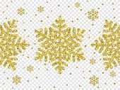 Christmas Golden Snowflake Glitter Pattern White Background Vector Gold Shine Sparkle Snow Decoratio poster