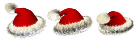 stock photo of santa claus hat  - Three Santa claus hats over white background - JPG