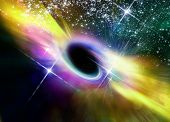 Black Hole In Space Within Nebula