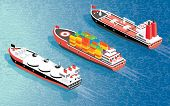 Isometric Cargo Ship Container, LNG Carrier Ship and Oil Tanker. Shipping Freight Transportation.  poster