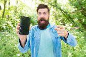 Gps And Navigation Apps. Useful Program. Smartphone Online Navigation. Man Bearded Wanderer Walking  poster