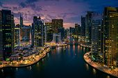 Scenic view of Dubai Marina, UAE after sunset poster