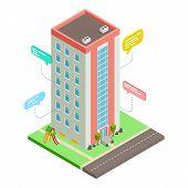 Communication Between Neighbors, Neighborhood Social Network Vector Isometric Concept. Illustration  poster
