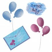 Congratulations On The Birth Of A Child, Birth Of A Child, Balloons And A Greeting Envelope poster