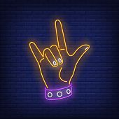 Rock Gesture Neon Sign. Hand, Devil Horn, Rocker. Gestures Concept. Vector Illustration In Neon Styl poster