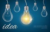 Bulbs Idea Background. Realistic Lamp Bulbs Vector Illustration. Isolated Lamp Bulb Idea, Power Elec poster