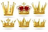 Realistic Golden Crowns. King, Prince And Queen Gold Crown And Diadem Royal Heraldic Decoration. Mon poster