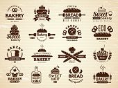 Bakery Labels. Pastry And Cupcakes Cafe Icons Kitchen Food Bakery Products Vector Illustrations. Bak poster