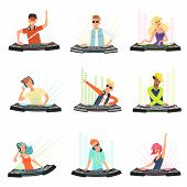 Dj Characters. Male And Female Party Musicians In Headphones For Event Music Record Console Vector P poster