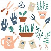 Vector Hand Drawn Illustrations Of Gardening. Cute Garden Work Hand Drawn Elements. Garden Tools: Pl poster