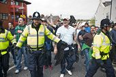 Devon And Cornwall Police Escort Football Fans To Prevent Football Violence At The League 1 Match Be