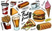 Fast Food, Burger And Hamburger, Tacos And Hot Dog, Burrito And Beer, Drink And Ice Cream. Vintage S poster