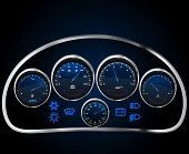 foto of meter stick  - Vector Realistic Car Dashboard - JPG