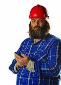 Bearded man in hard hat