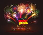 Germany Independence Day Greeting Card With Festive Fireworks And Tricolor. Tag Der Deutschen Einhei poster