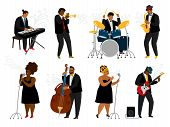 Cartoon Jazz Band Musicians On White. Musical Player With Music Instruments And Singing Women Charac poster