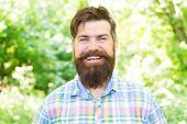 Making Happiness Possible. Happy Hipster With Smiling Face On Summer Landscape. Bearded Man With Lon poster