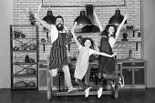 Starting Day. Happy Family In Kitchen. Mother And Father With Little Girl. Family Day. Little Girl W poster