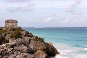 Mayan Tower Above The Ocean At Tulum