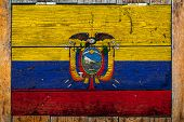 National Flag Of Ecuador On A Wooden Wall Background.the Concept Of National Pride And Symbol Of The poster