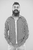 Brutal Bearded Hipster In Checkered Shirt. Male Fashion And Spring Style. Mature Happy Man Hipster.  poster