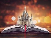 Open story book with fairy tale castle. 3d illustration poster
