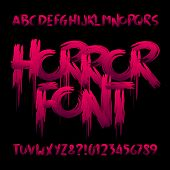 Horror Alphabet Font. Uppercase Handwritten Bloody Letters And Numbers. Stock Vector Typeface For Yo poster